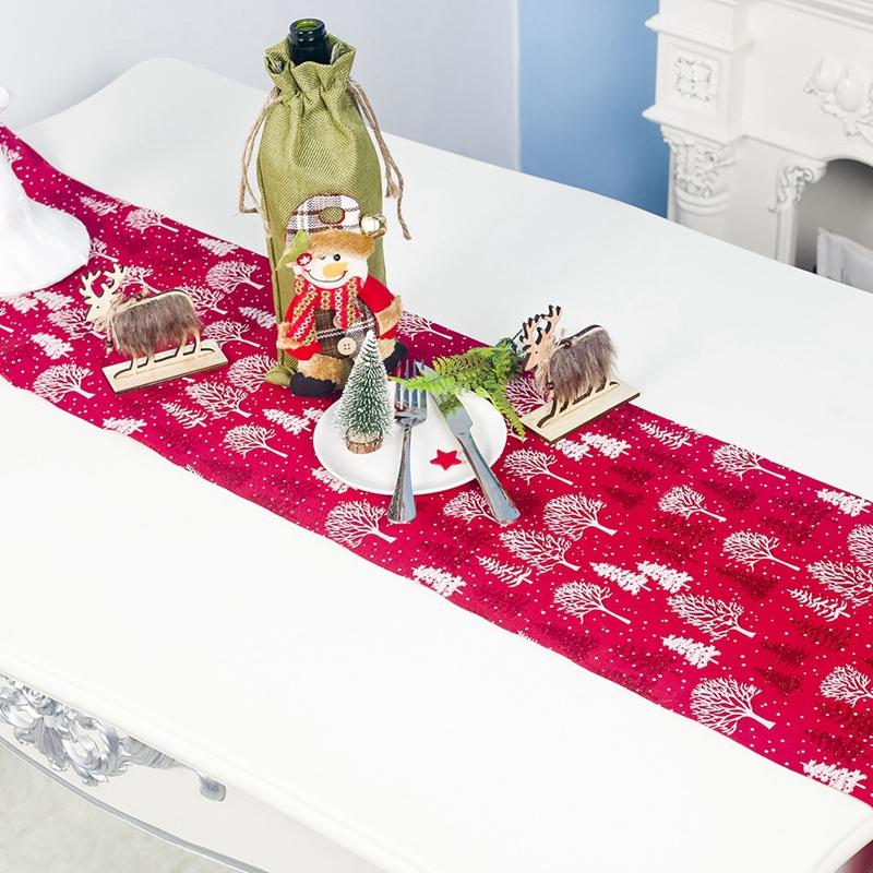 Table-de-NoeL-Chemin-de-Table-Accessoires-Polyester-Drapeau-de-Table-Nappes-F8K4 miniature 9