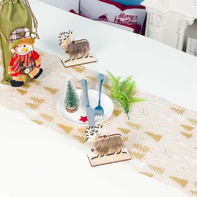 Table-de-NoeL-Chemin-de-Table-Accessoires-Polyester-Drapeau-de-Table-Nappes-F8K4 miniature 11