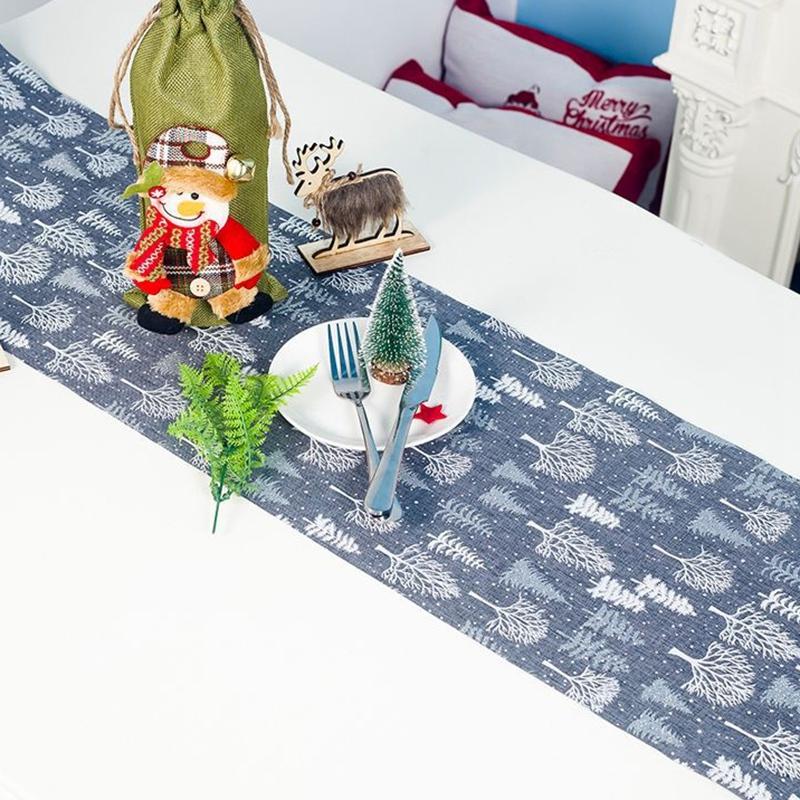 Table-de-NoeL-Chemin-de-Table-Accessoires-Polyester-Drapeau-de-Table-Nappes-F8K4 miniature 18
