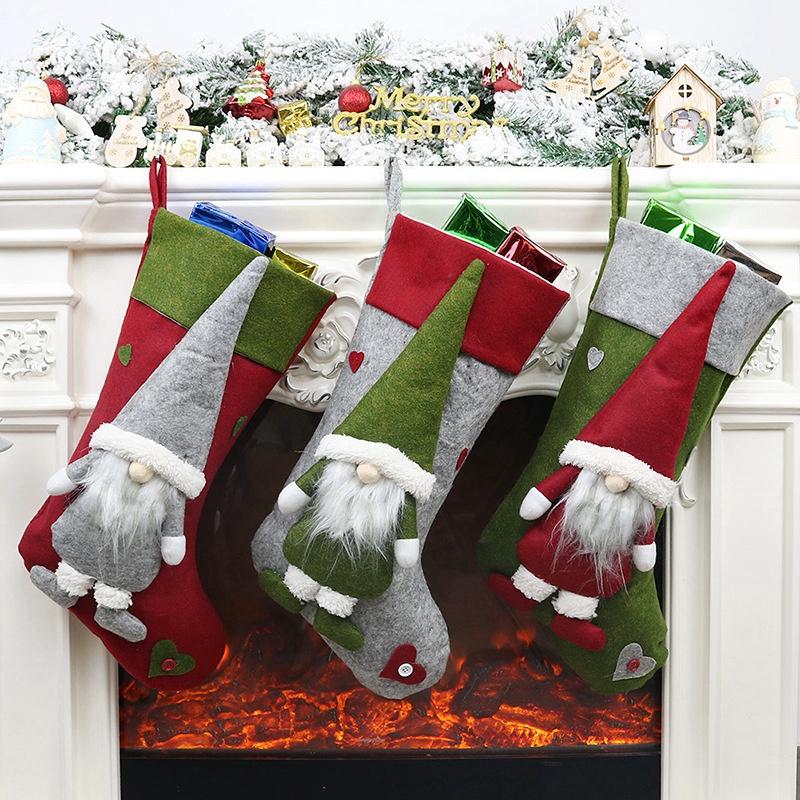Weihnachtsstrumpf-Santa-Claus-Candy-Gift-Bag-Weihnachtsbaum-HaeNge-Dekor-F2V7 Indexbild 4
