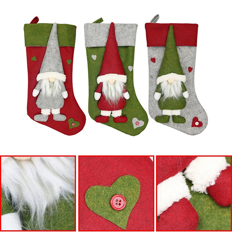 Weihnachtsstrumpf-Santa-Claus-Candy-Gift-Bag-Weihnachtsbaum-HaeNge-Dekor-F2V7 Indexbild 5