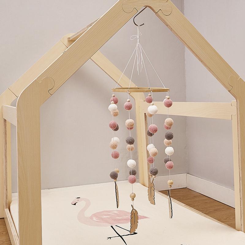 Bricolage-en-Bois-avec-des-Boules-de-Laine-Carillons-a-Vent-Enfants-Chambre-U2M5 miniature 4