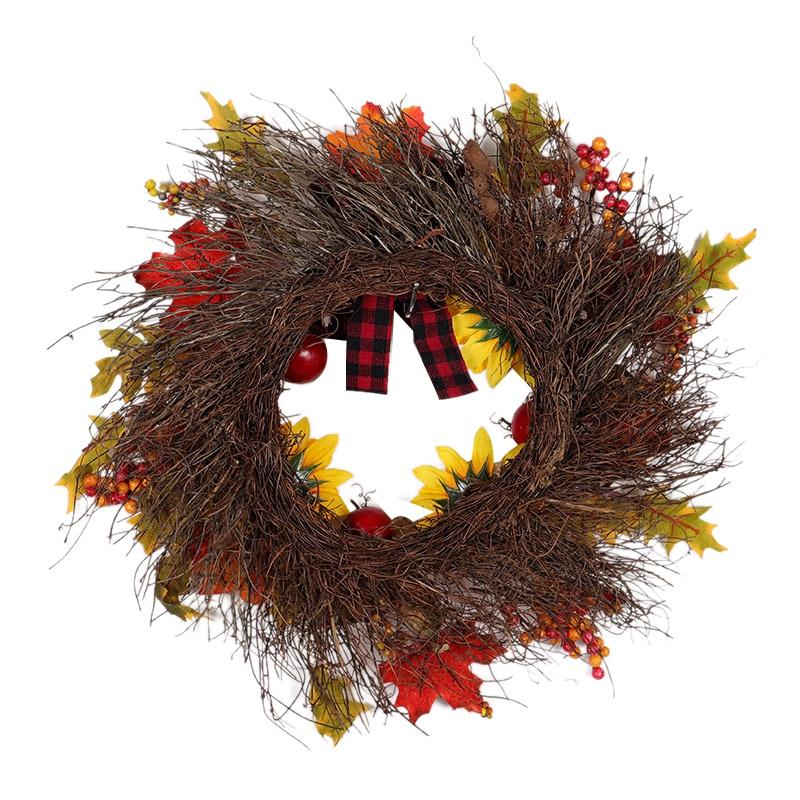 Halloween-und-Weihnachten-Seide-KueNstliche-Sonnenblume-Kranz-Seide-Gelbe-So-Y4F6 Indexbild 3