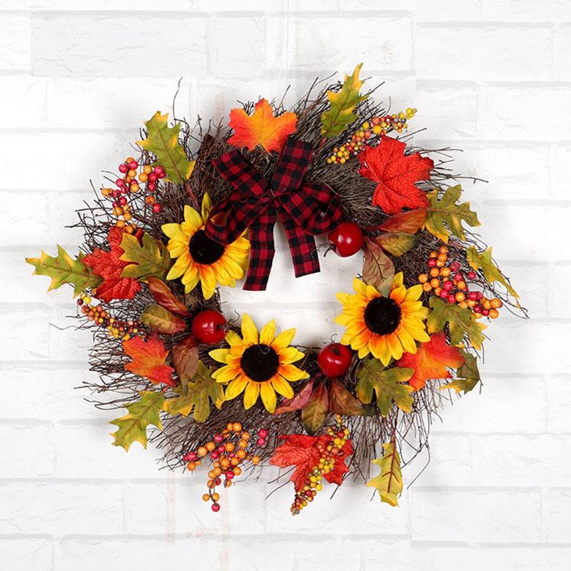 Halloween-und-Weihnachten-Seide-KueNstliche-Sonnenblume-Kranz-Seide-Gelbe-So-Y4F6 Indexbild 4