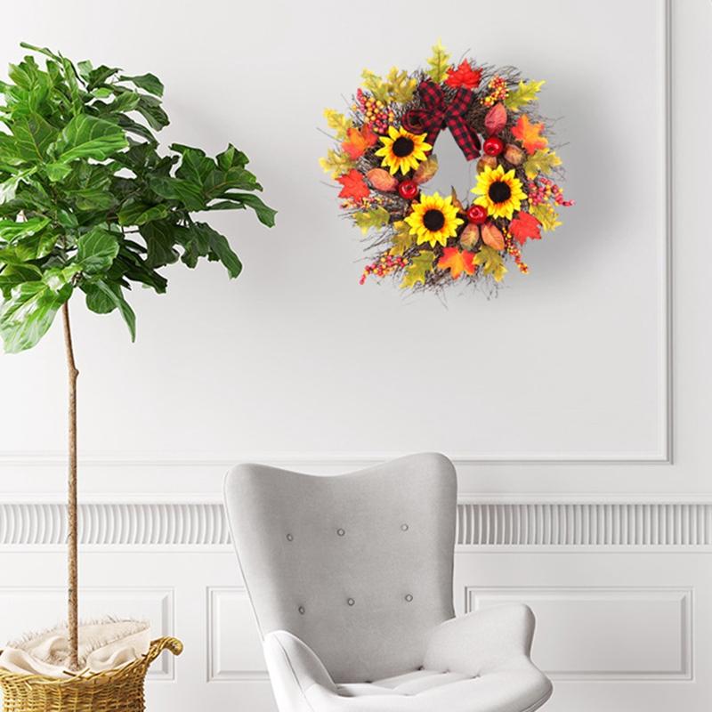 Halloween-und-Weihnachten-Seide-KueNstliche-Sonnenblume-Kranz-Seide-Gelbe-So-Y4F6 Indexbild 5