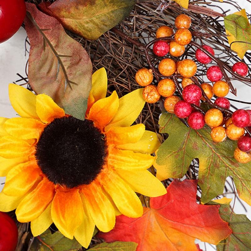 Halloween-und-Weihnachten-Seide-KueNstliche-Sonnenblume-Kranz-Seide-Gelbe-So-Y4F6 Indexbild 7