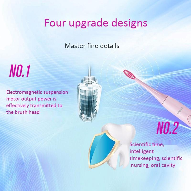 Vgr-V-806-Brosse-a-Dents-eLectrique-Charge-Usb-Onde-Sonore-Automatique-Bros-C4B4 miniature 4