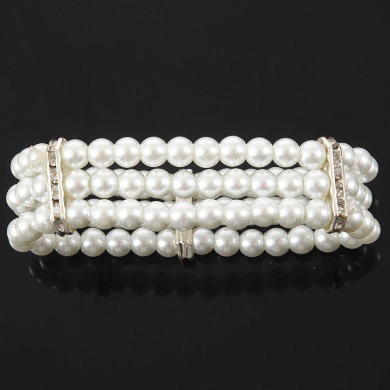 UK/_ 3 Rows Faux Pearl Rhinestone Decor Elastic Stretchy Bangle Bracelet Little