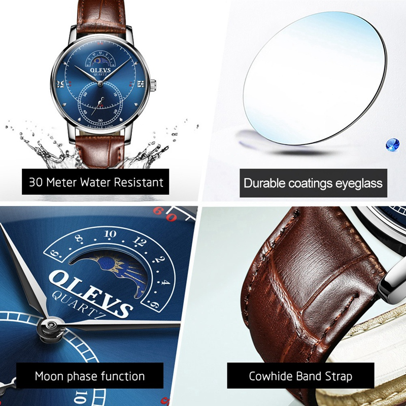 OLEVS-Simple-Fashion-Men-039-s-Watch-Men-039-s-Watch-Quartz-Watch-Waterproof-Men-G1U4 thumbnail 15