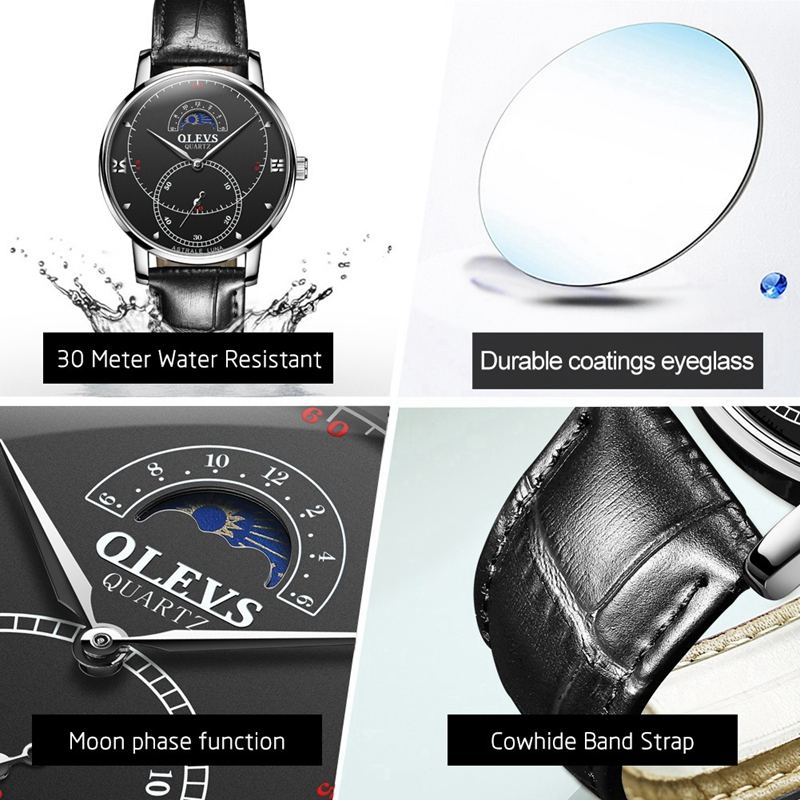 OLEVS-Simple-Fashion-Men-039-s-Watch-Men-039-s-Watch-Quartz-Watch-Waterproof-Men-G1U4 thumbnail 24