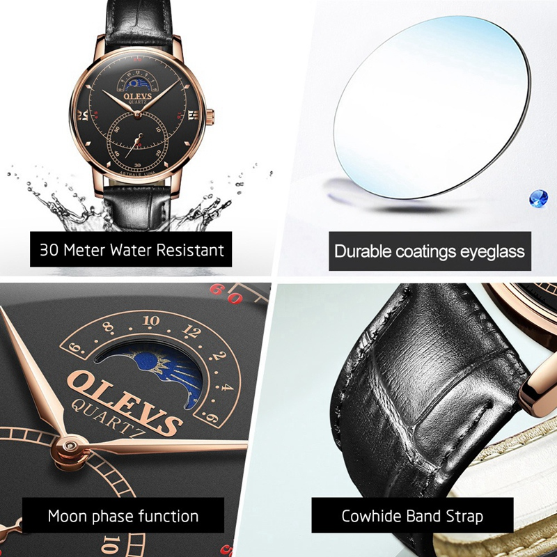 OLEVS-Simple-Fashion-Men-039-s-Watch-Men-039-s-Watch-Quartz-Watch-Waterproof-Men-G1U4 thumbnail 39