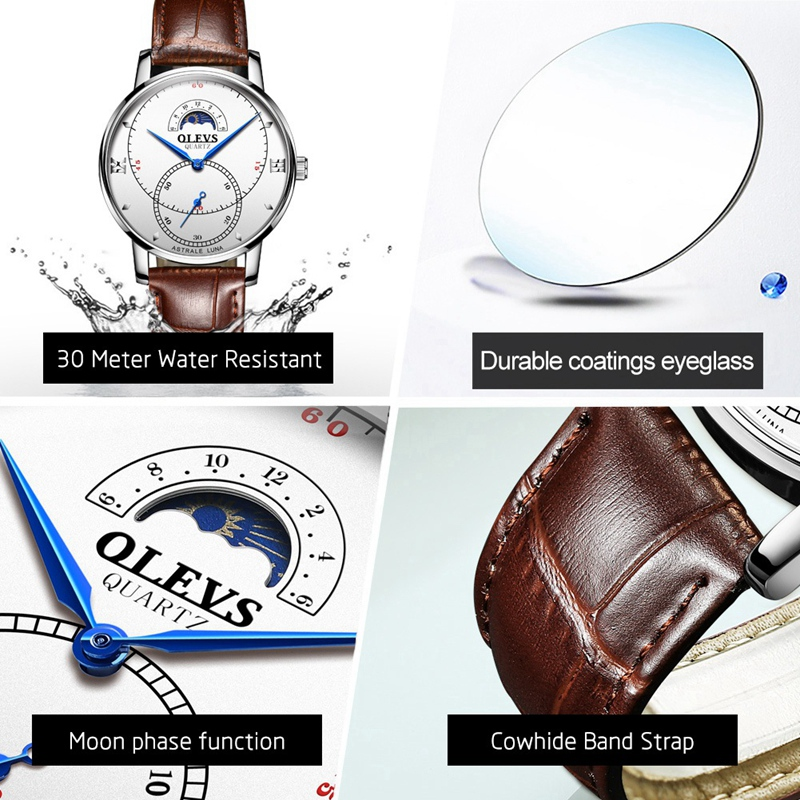 OLEVS-Simple-Fashion-Men-039-s-Watch-Men-039-s-Watch-Quartz-Watch-Waterproof-Men-G1U4 thumbnail 45