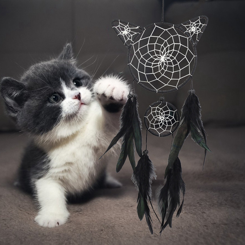 Cute-Cat-Shape-Dream-Catcher-Kit-Dream-Catcher-Hecho-una-Mano-Regalo-de-Nin-Y6X3 miniatura 4