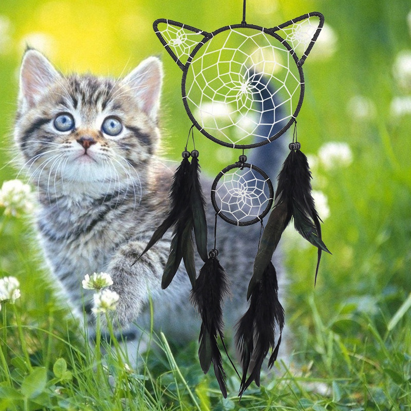 Cute-Cat-Shape-Dream-Catcher-Kit-Dream-Catcher-Hecho-una-Mano-Regalo-de-Nin-Y6X3 miniatura 5