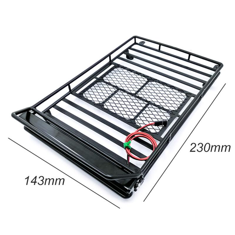 Toit Métallique Porte-bagages avec lumière DEL pour RC 1//10 Wrangler Axial SCX10 A #