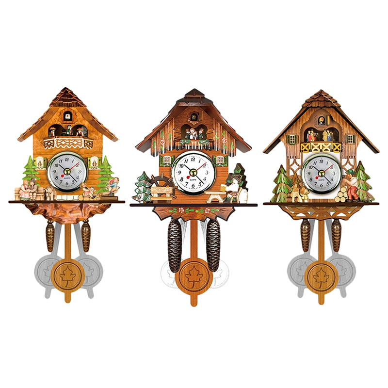 1X(Antique Wooden Cuckoo Wall Clock Bird Time Bell Swing Alarm Watch Home A R3G9