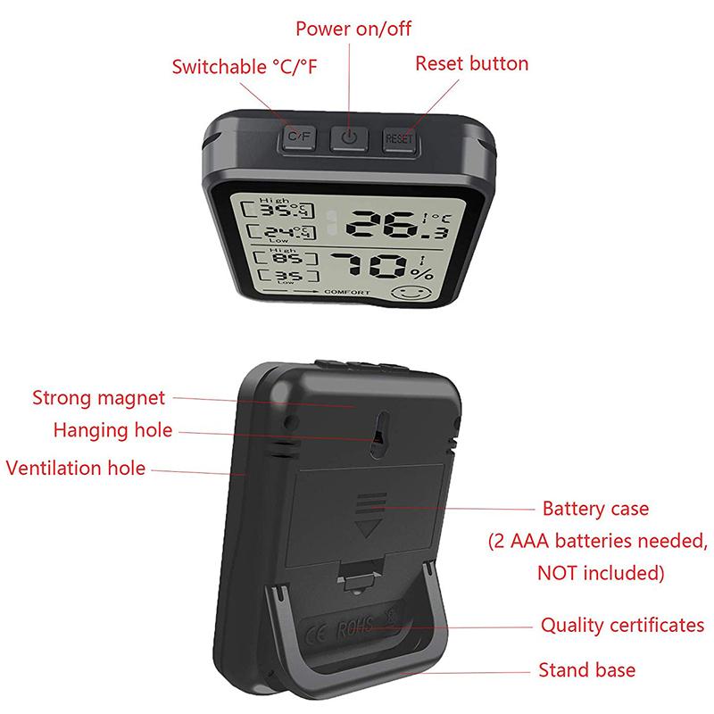 274417A2 2 - HigróMetro y TermóMetro Digital con Medidor de Humedad y Temperatura con Pan F1R