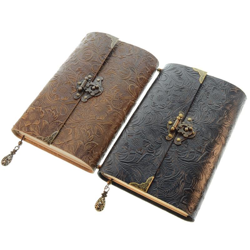 Cuaderno-de-Viaje-de-Cuero-Suave-con-PatroN-en-Relieve-con-Cerradura-y-Bloc-O6P6 miniatura 7
