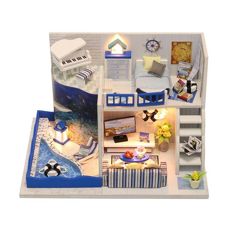 Spielzeug-fuer-Kinder-Diy-Puppenhaus-Diy-Miniatur-Puppenhaus-mit-MoeBel-Puppe-L5V9 Indexbild 3