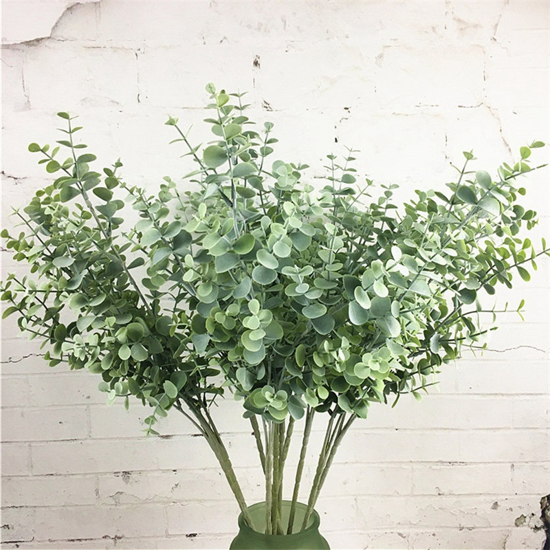 thumbnail 4 - 1X-6-Pcs-Eucalyptus-Plastic-Artificial-Leaves-Bunch-for-Home-Christmas-Wedd-S3F8