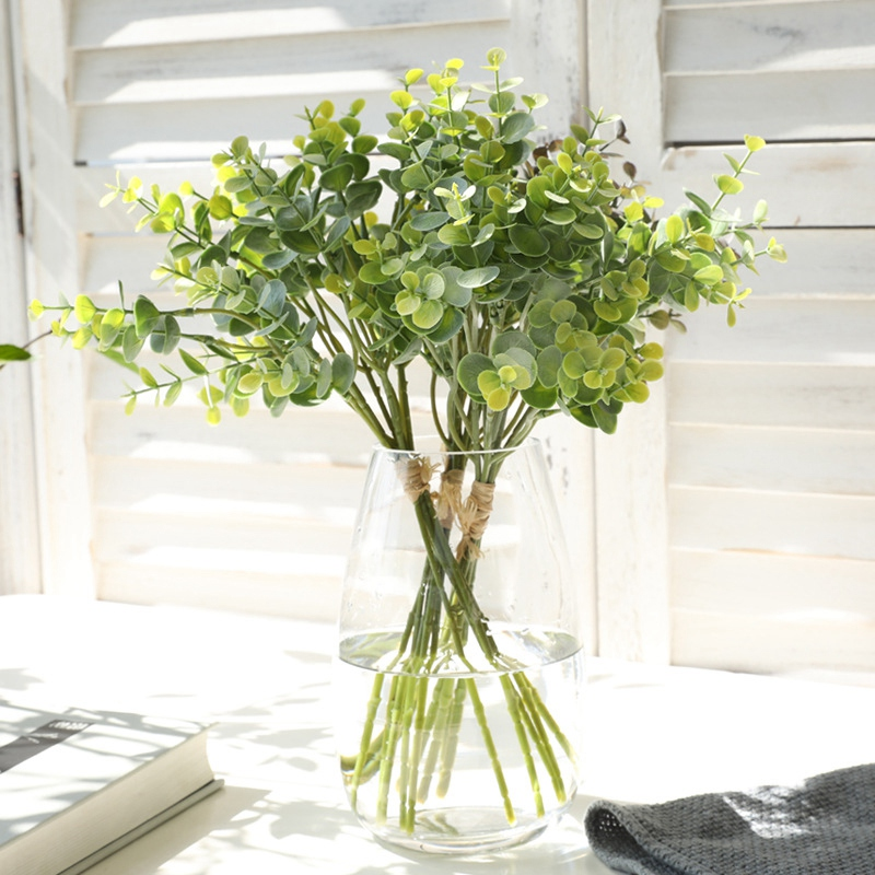 thumbnail 5 - 1X-6-Pcs-Eucalyptus-Plastic-Artificial-Leaves-Bunch-for-Home-Christmas-Wedd-S3F8