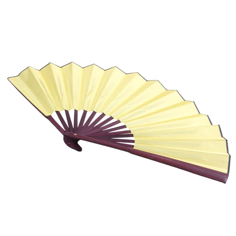Men-Women-Wood-Handle-Fabric-Folding-Hand-Fan-13-inch-Length-Yellow-Q9K6 thumbnail 4
