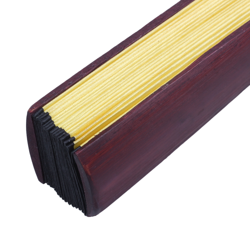 Men-Women-Wood-Handle-Fabric-Folding-Hand-Fan-13-inch-Length-Yellow-Q9K6 thumbnail 5