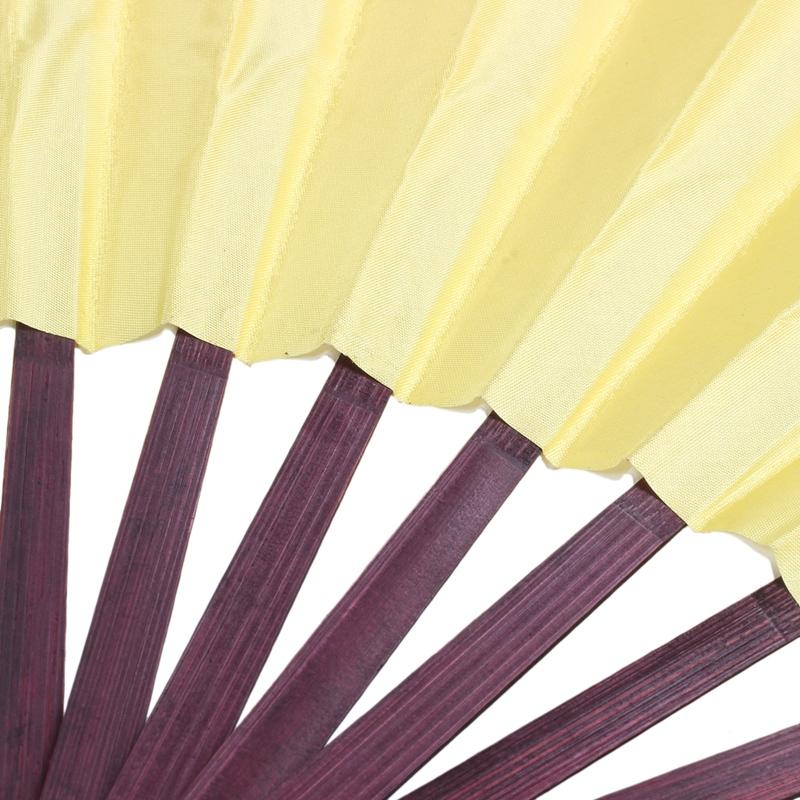 Men-Women-Wood-Handle-Fabric-Folding-Hand-Fan-13-inch-Length-Yellow-Q9K6 thumbnail 8