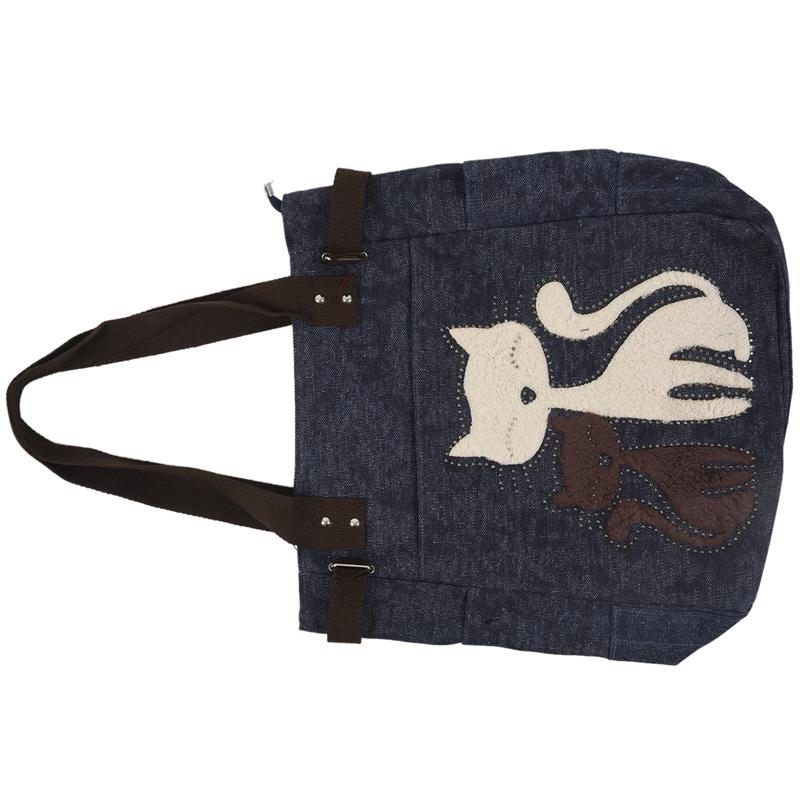 Kurierhandtasche-Tasche-mit-niedlichen-Katze-Frauen-kleinen-Einkaufs-Umhaen-Z9W7 Indexbild 7