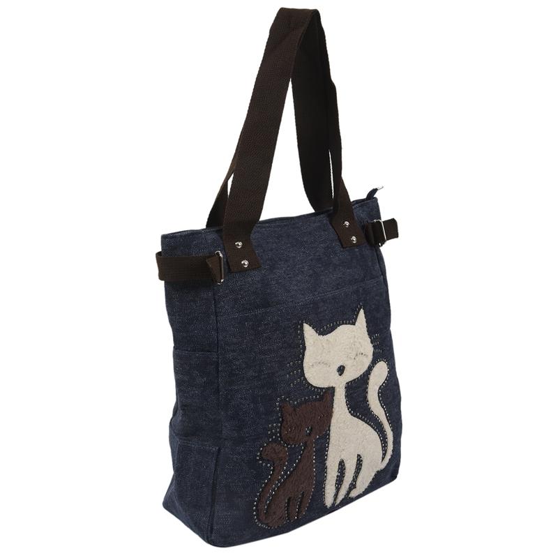 Kurierhandtasche-Tasche-mit-niedlichen-Katze-Frauen-kleinen-Einkaufs-Umhaen-Z9W7 Indexbild 13