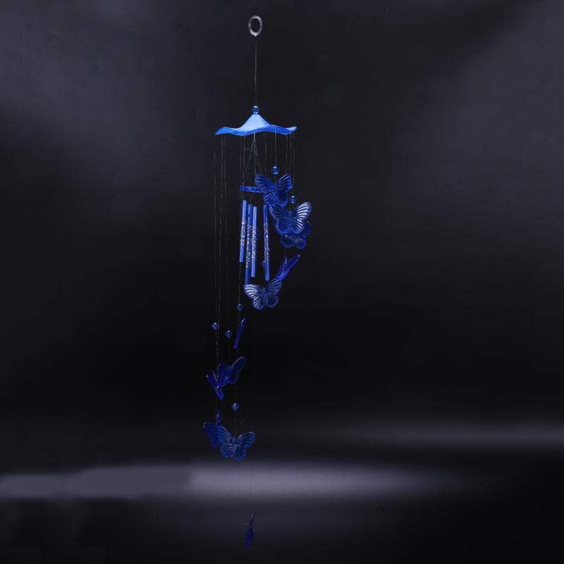 Blau U9P6 Windspiel Klangroehren Schmetterling Feng Shui Klangspiel Haus Deko