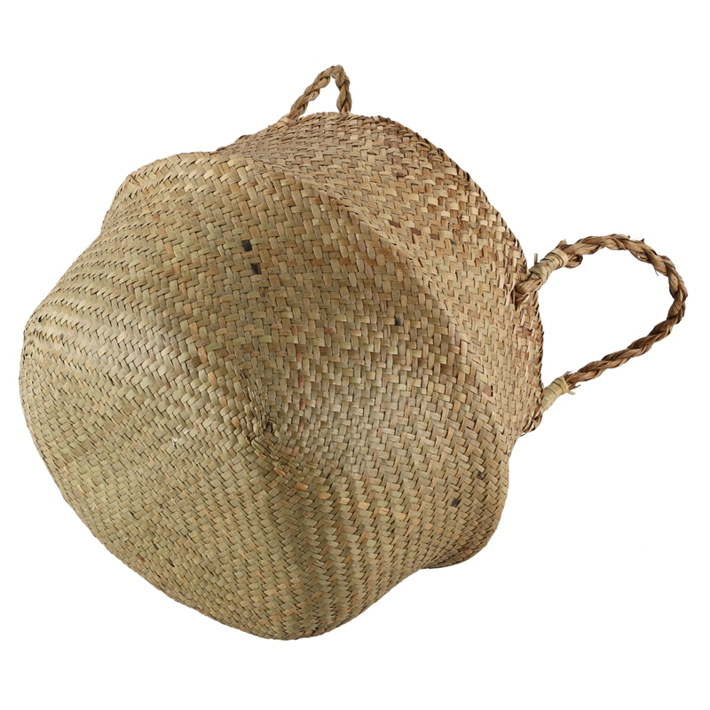 Seegras-Korb-Korb-Rattan-faltbare-haengende-Blumentopf-Pflanzgeflecht-gespo-A9R3 Indexbild 4