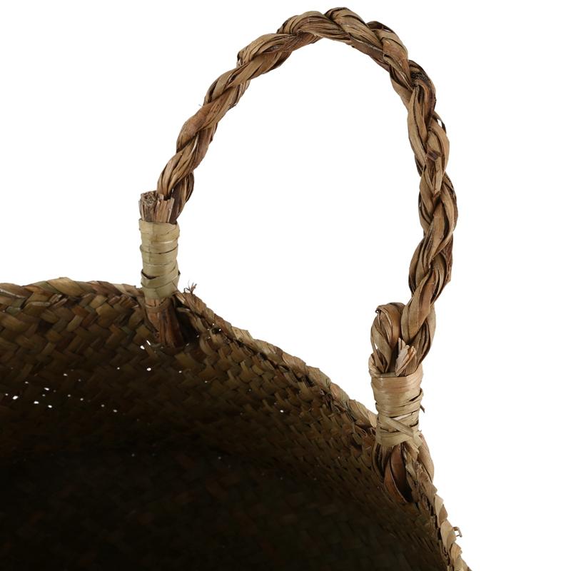 Seegras-Korb-Korb-Rattan-faltbare-haengende-Blumentopf-Pflanzgeflecht-gespo-A9R3 Indexbild 8