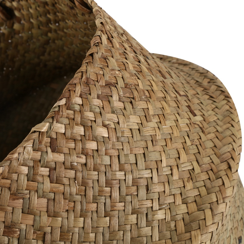Seegras-Korb-Korb-Rattan-faltbare-haengende-Blumentopf-Pflanzgeflecht-gespo-A9R3 Indexbild 9