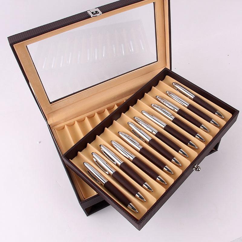 24-Stift-Brunnen-Holz-Vitrinenhalter-Holz-Stift-Aufbewahrungsbox-Collector-K8G3 Indexbild 5