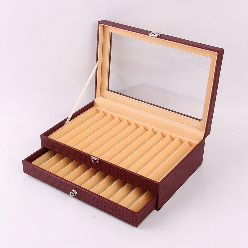 24-Stift-Brunnen-Holz-Vitrinenhalter-Holz-Stift-Aufbewahrungsbox-Collector-K8G3 Indexbild 11