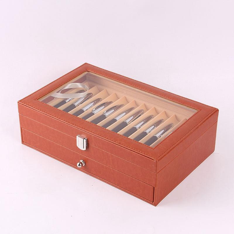 24-Stift-Brunnen-Holz-Vitrinenhalter-Holz-Stift-Aufbewahrungsbox-Collector-K8G3 Indexbild 23