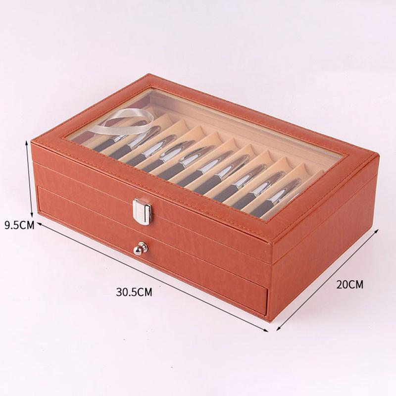24-Stift-Brunnen-Holz-Vitrinenhalter-Holz-Stift-Aufbewahrungsbox-Collector-K8G3 Indexbild 24