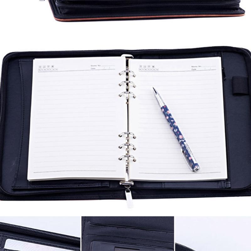 A5-Padfolio-con-Calculadora-Carpeta-de-Cremallera-Cuaderno-Cuaderno-Archivo-Carp miniatura 12