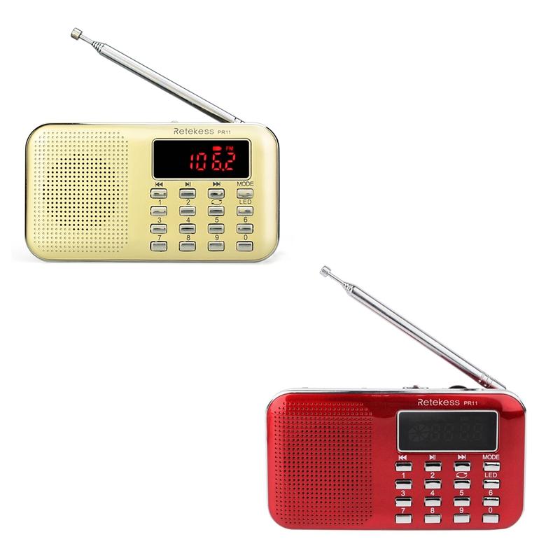 RETEKESS PR-11 Portable FM//AM Radio MP3 Music Player Digital Tuning Flashlight