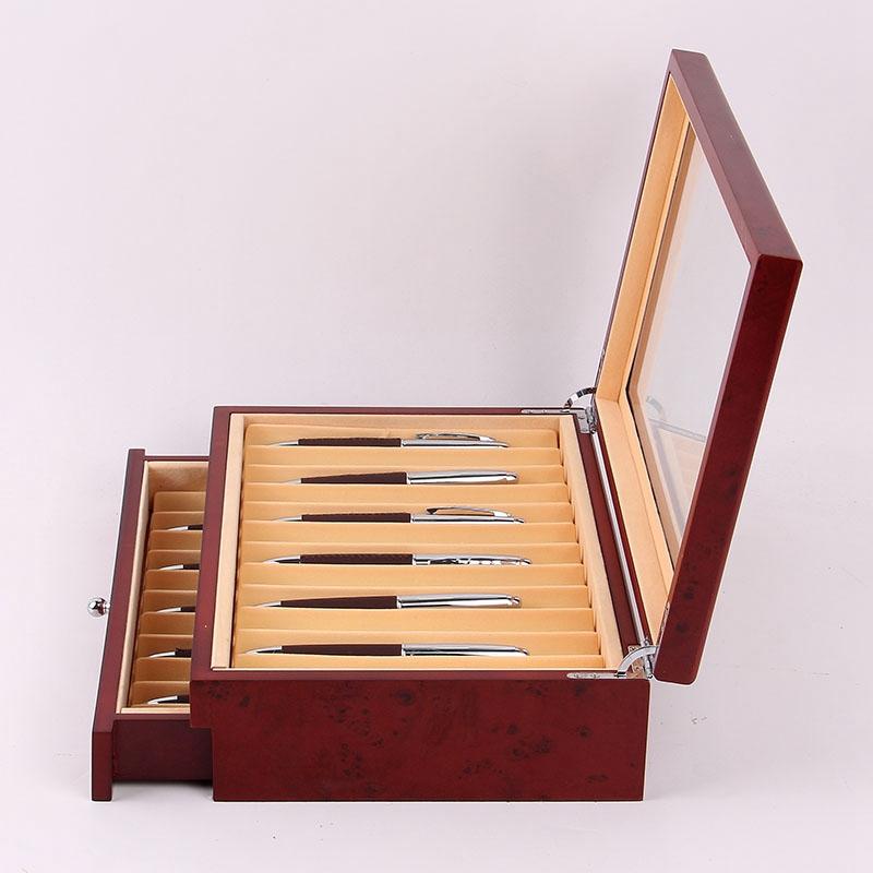 Feder-Brunnen-Holz-Vitrinen-Halter-Holz-Feder-Aufbewahrung-Box-Sammler-Orga-N9C1 Indexbild 4