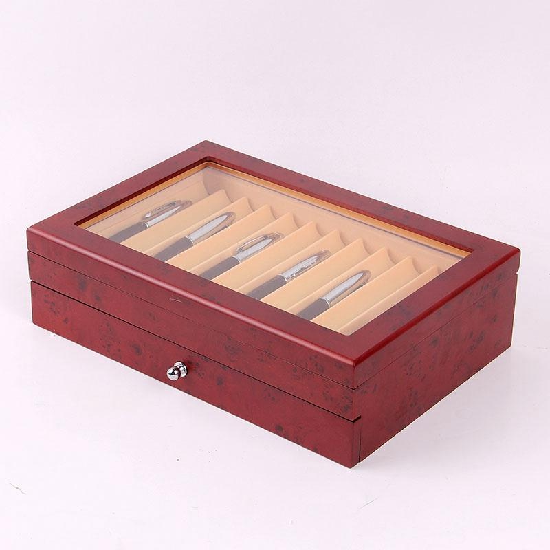 Feder-Brunnen-Holz-Vitrinen-Halter-Holz-Feder-Aufbewahrung-Box-Sammler-Orga-N9C1 Indexbild 5