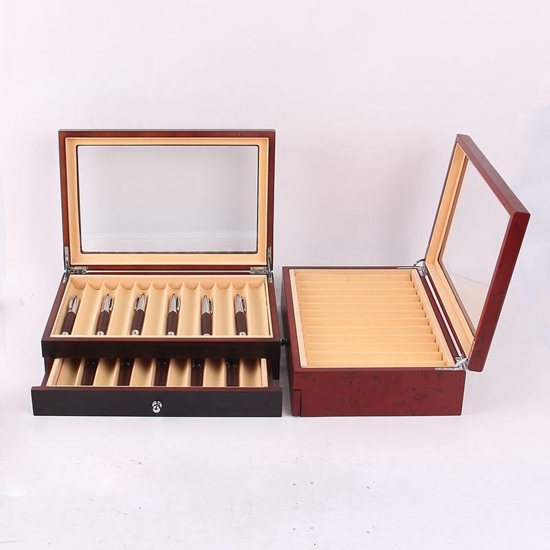 Feder-Brunnen-Holz-Vitrinen-Halter-Holz-Feder-Aufbewahrung-Box-Sammler-Orga-N9C1 Indexbild 11