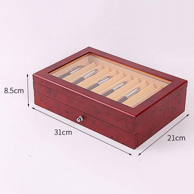 Feder-Brunnen-Holz-Vitrinen-Halter-Holz-Feder-Aufbewahrung-Box-Sammler-Orga-N9C1 Indexbild 14
