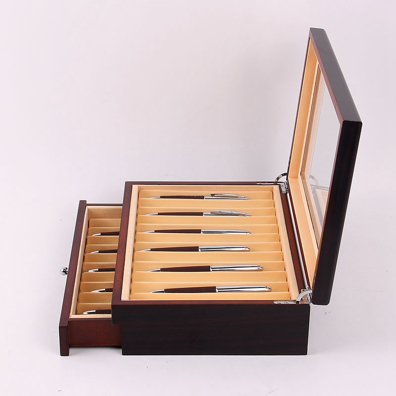 Feder-Brunnen-Holz-Vitrinen-Halter-Holz-Feder-Aufbewahrung-Box-Sammler-Orga-N9C1 Indexbild 16