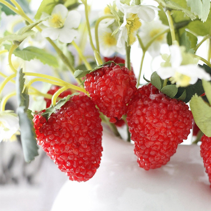 thumbnail 4 - 1X-6-Pcs-Acrylic-Strawberry-Artificial-Fruit-Flowers-for-Party-Home-Garden-X3O6