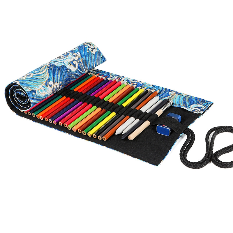 School Roll Pencil Case for Girls Boys Pencil Case Canvas Pe