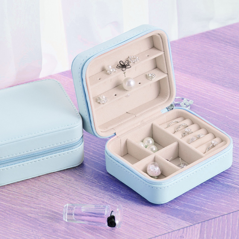 Caja-de-Almacenamiento-de-Joyas-de-PU-de-una-Sola-Capa-de-Cuero-Pendientes-Q3M9 miniatura 3