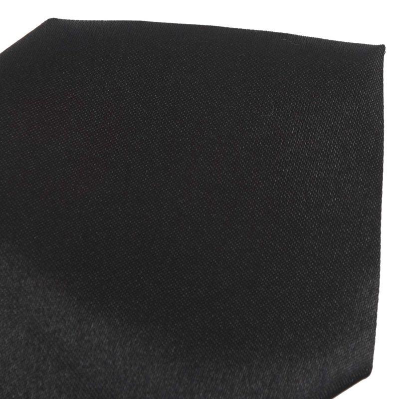 Men Solid Black Polyester Zip Up Necktie Smooth Zipper Tie G9D3