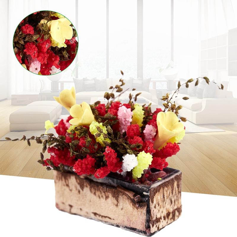 3X-1-12-Dollhouse-Miniature-Multicolor-Flower-Bush-With-Wood-Pot-V1X8 thumbnail 2